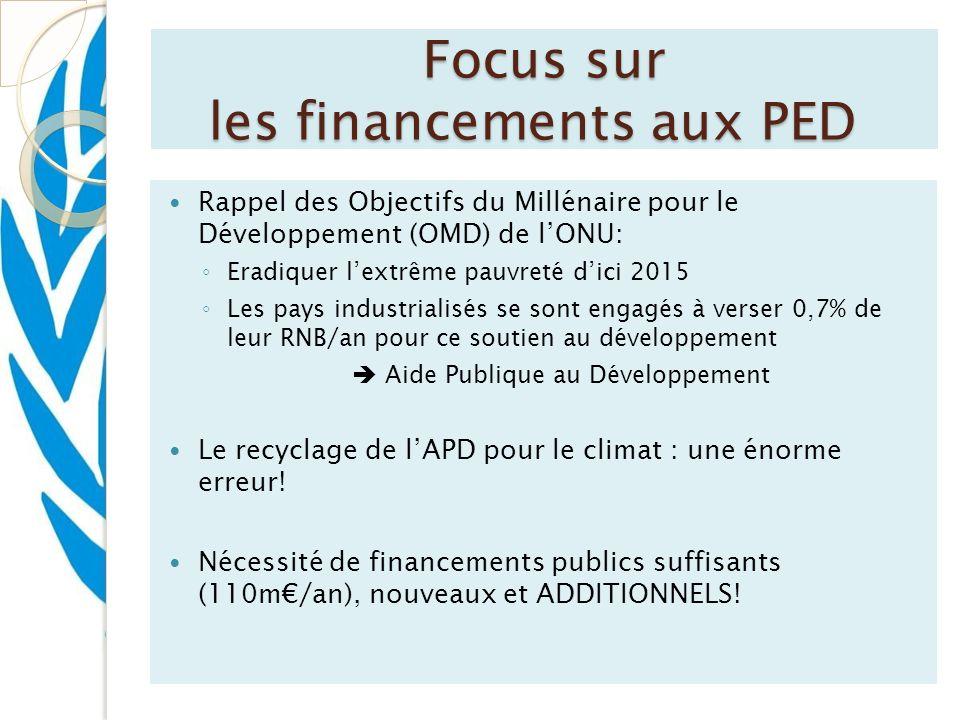 Focus sur les financements aux PED Rappel des Objectifs du Millénaire pour le Développement (OMD) de lONU: Eradiquer lextrême pauvreté dici 2015 Les p