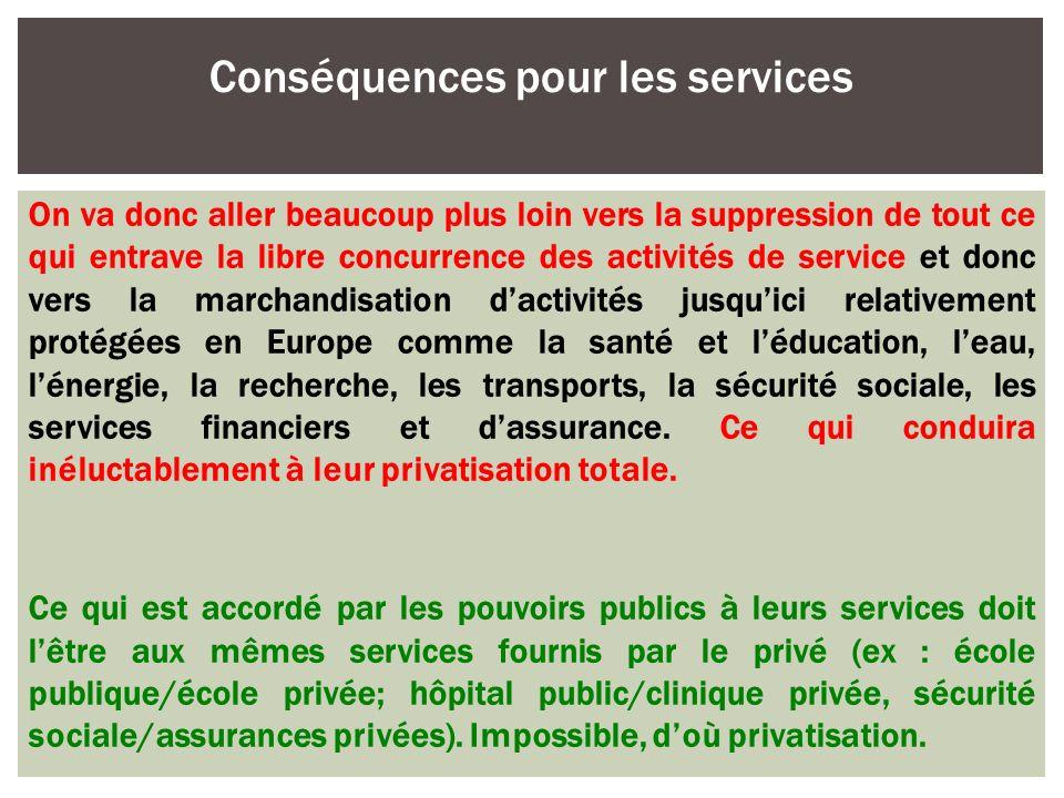 On va donc aller beaucoup plus loin vers la suppression de tout ce qui entrave la libre concurrence des activités de service et donc vers la marchandi