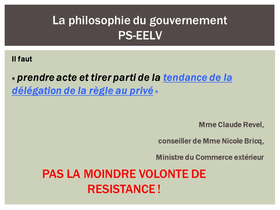 Il faut « prendre acte et tirer parti de la tendance de la délégation de la règle au privé » Mme Claude Revel, conseiller de Mme Nicole Bricq, Ministr