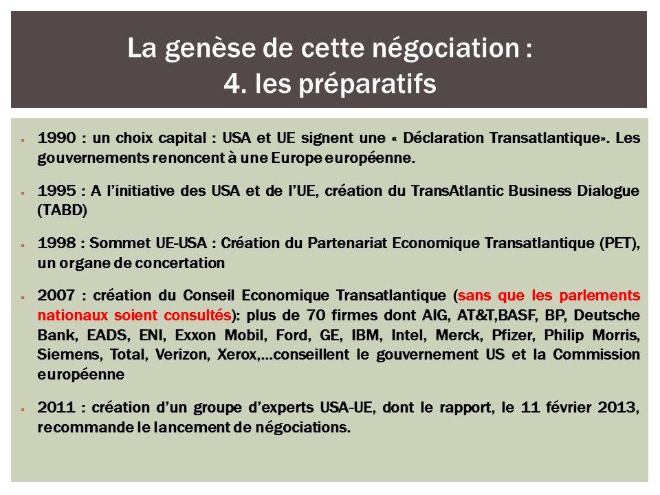 1990 : un choix capital : USA et UE signent une « Déclaration Transatlantique». Les gouvernements renoncent à une Europe européenne. 1995 : A linitiat