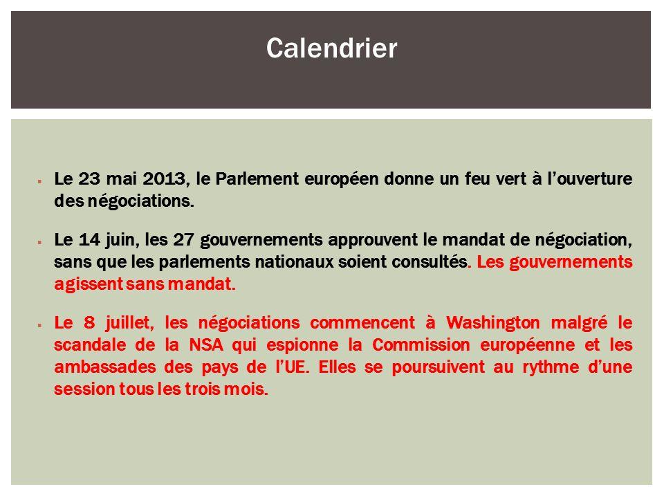 Le 23 mai 2013, le Parlement européen donne un feu vert à louverture des négociations. Le 14 juin, les 27 gouvernements approuvent le mandat de négoci