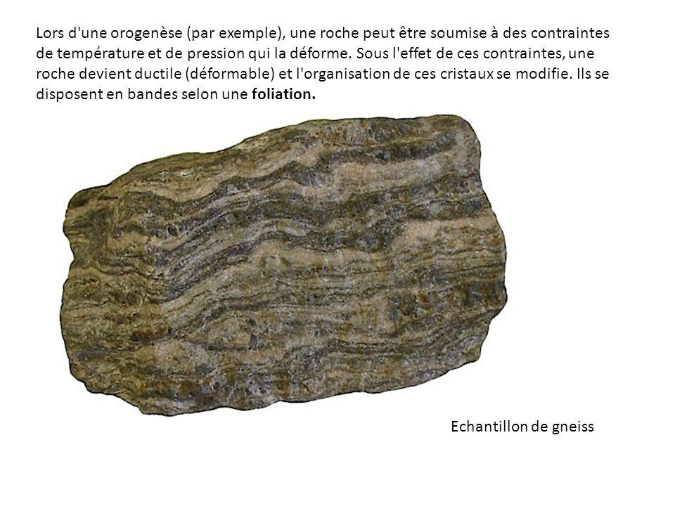 Lors d'une orogenèse (par exemple), une roche peut être soumise à des contraintes de température et de pression qui la déforme. Sous l'effet de ces co