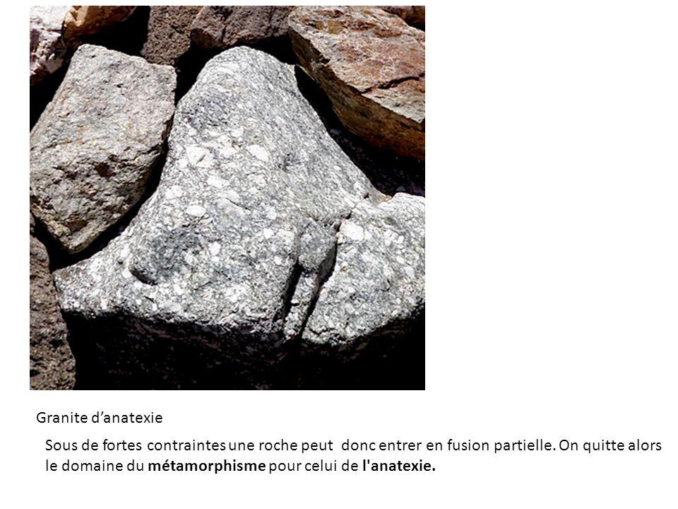 Granite danatexie Sous de fortes contraintes une roche peut donc entrer en fusion partielle. On quitte alors le domaine du métamorphisme pour celui de
