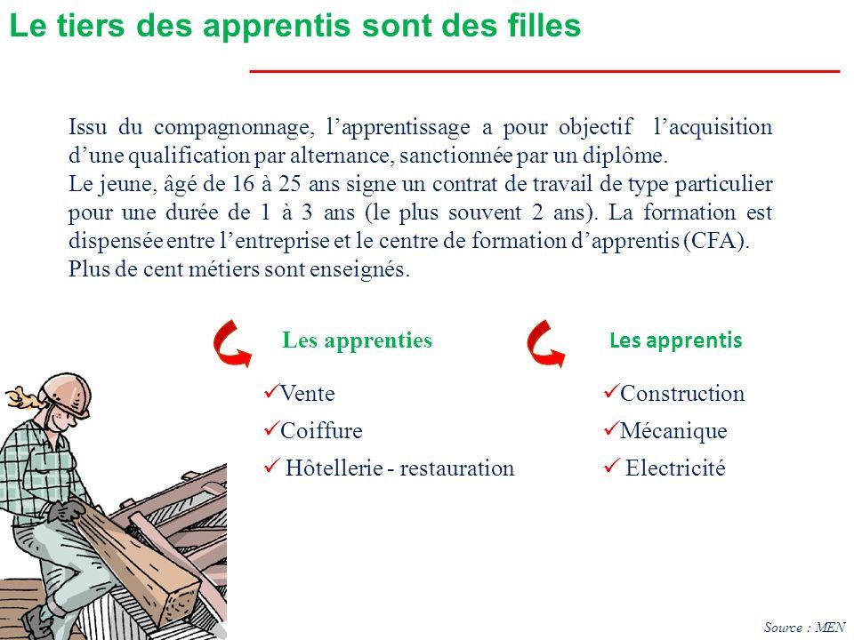 Les apprentis Le tiers des apprentis sont des filles Les apprenties Vente Coiffure Hôtellerie - restauration Construction Mécanique Electricité Issu d