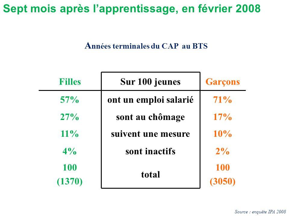 FillesSur 100 jeunesGarçons 57%ont un emploi salarié71% 27%sont au chômage17% 11%suivent une mesure10% 4%sont inactifs2% 100 (1370) total 100 (3050) A