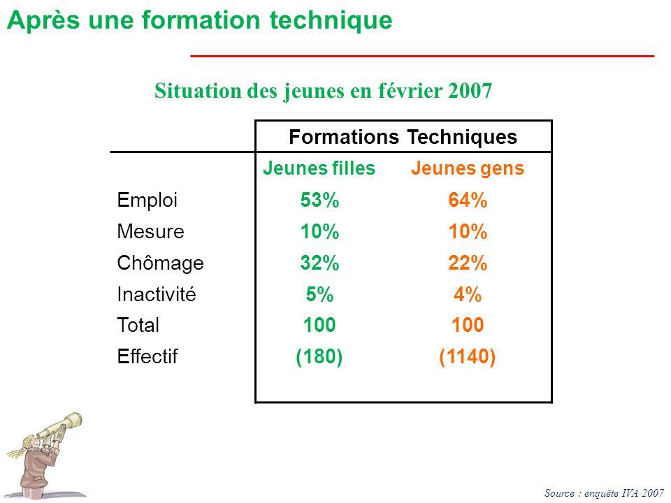 Formations Techniques Jeunes fillesJeunes gens Emploi53%64% Mesure10% Chômage32%22% Inactivité5%4% Total100 Effectif(180)(1140) Situation des jeunes e