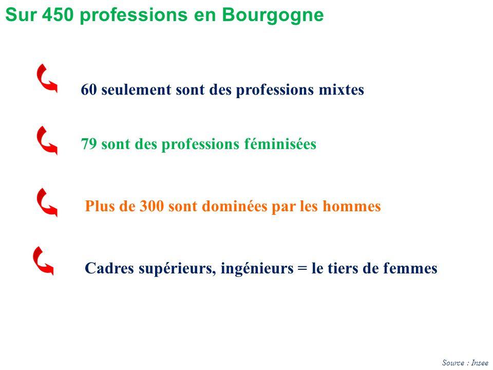 60 seulement sont des professions mixtes Plus de 300 sont dominées par les hommes Sur 450 professions en Bourgogne 79 sont des professions féminisées