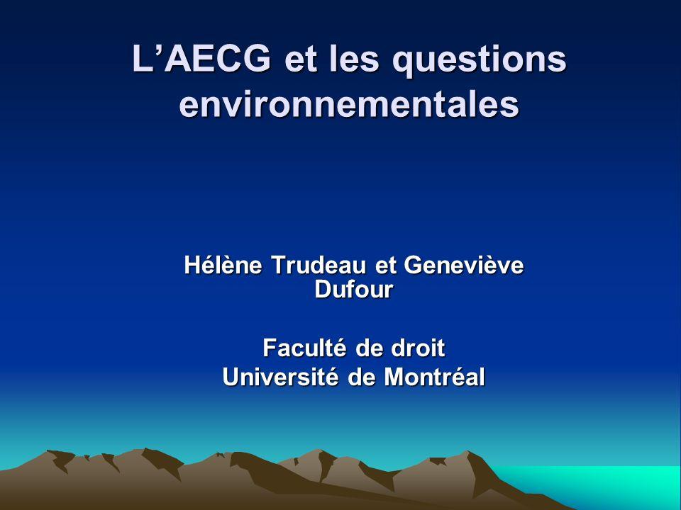 Partie 1: La protection de lenvironnement doit avoir une place prioritaire dans le contexte de lAECG Les conflits commerce-environnement entre lEurope et le Canada sont potentiellement nombreux (Bœuf aux hormones, Amiante, OGM, Affaire des phoques, taxes sur les carburants imposées aux avions, sables bitumineux) Raisons principales de ces conflits : la tolérance aux risques ou la perception des risques (amiante, bœuf aux hormones, OGM), de même que la sensibilité (laffaire des phoques) ne sont pas les mêmes, la volonté dexercer un leadership environnemental sur la scène internationale se heurte à linertie de lautre Partie (mesures de respect du Protocole de Kyoto)