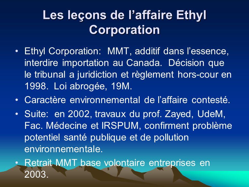 Les leçons de laffaire Ethyl Corporation Ethyl Corporation: MMT, additif dans lessence, interdire importation au Canada.
