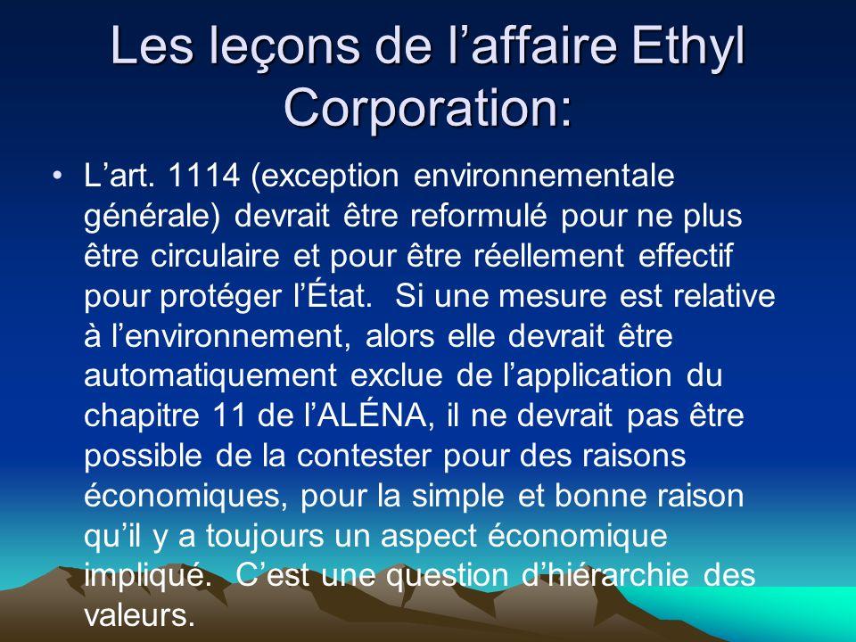 Les leçons de laffaire Ethyl Corporation: Lart.