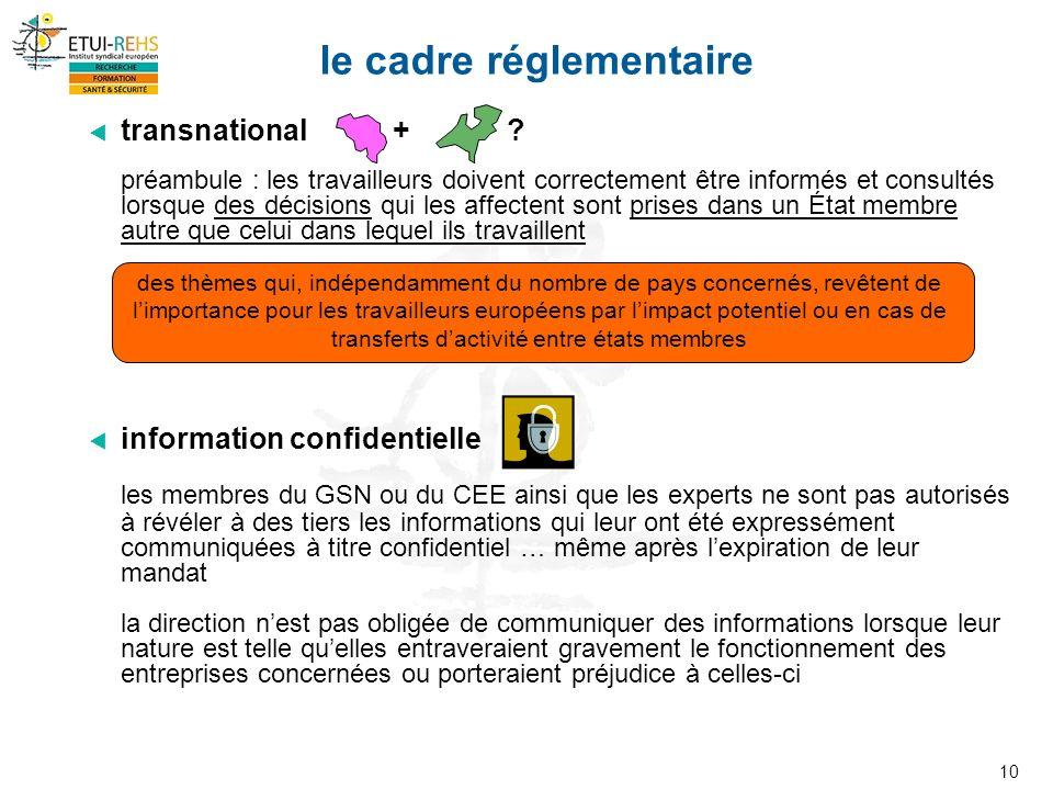 10 le cadre réglementaire transnational + .