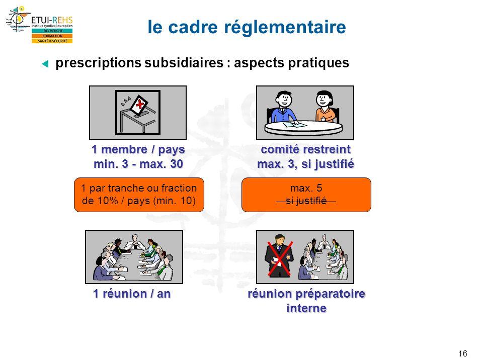 16 le cadre réglementaire prescriptions subsidiaires : aspects pratiques 1 réunion / an 1 membre / pays min.