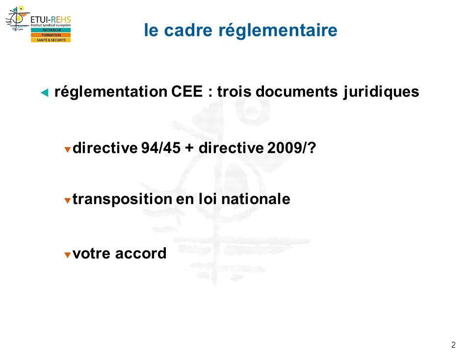 2 réglementation CEE : trois documents juridiques directive 94/45 + directive 2009/.