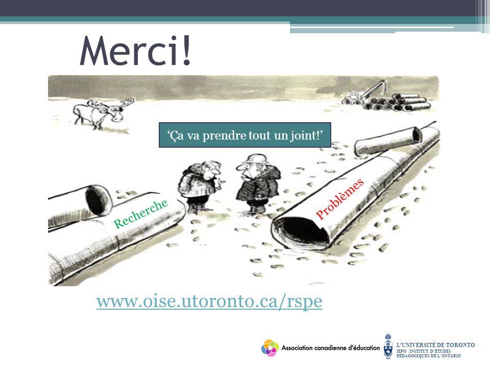 L UNIVERSITÉ DE TORONTO IEPO INSTITUT DÉTUDES PÉDAGOGIQUES DE LONTARIO Merci.