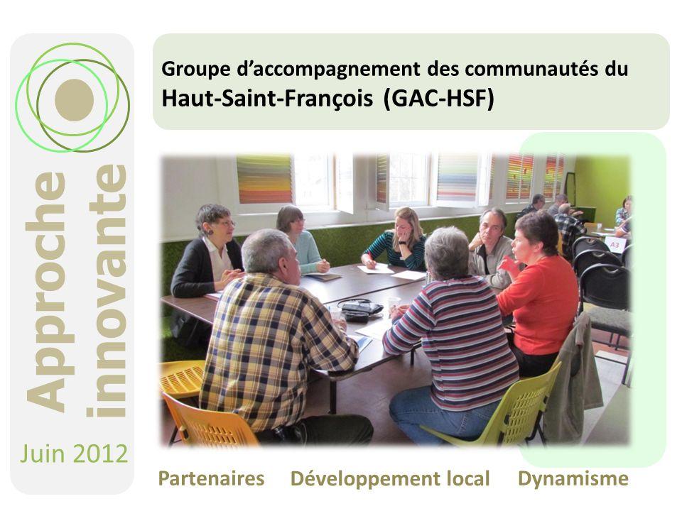 Groupe daccompagnement des communautés du Haut-Saint-François (GAC-HSF) Juin 2012 Partenaires Développement local Dynamisme Approche innovante