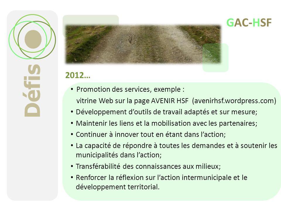 Défis 2012… Promotion des services, exemple : vitrine Web sur la page AVENIR HSF (avenirhsf.wordpress.com) Développement doutils de travail adaptés et