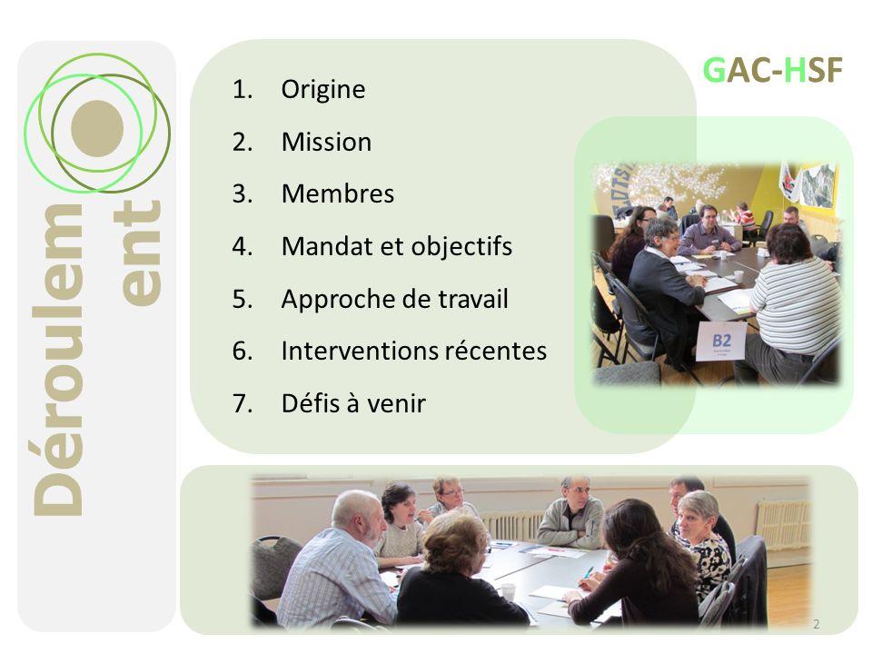 Déroulem ent 1.Origine 2.Mission 3.Membres 4.Mandat et objectifs 5.Approche de travail 6.Interventions récentes 7.Défis à venir 2 GAC-HSF
