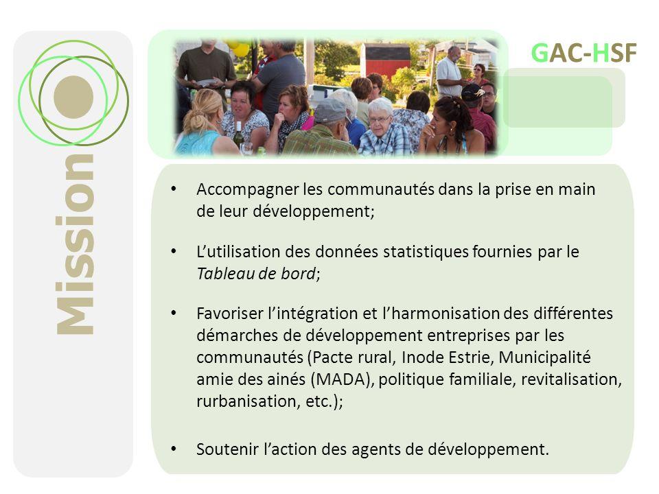 Mission Accompagner les communautés dans la prise en main de leur développement; Lutilisation des données statistiques fournies par le Tableau de bord
