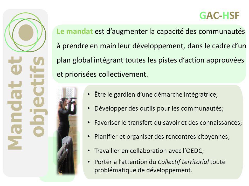 Mandat et objectifs Être le gardien dune démarche intégratrice; Développer des outils pour les communautés; Favoriser le transfert du savoir et des co