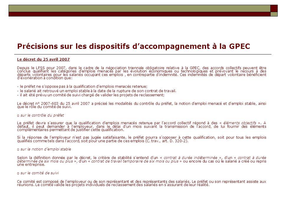 Précisions sur les dispositifs daccompagnement à la GPEC Le décret du 25 avril 2007 Depuis le LFSS pour 2007, dans le cadre de la négociation triennal