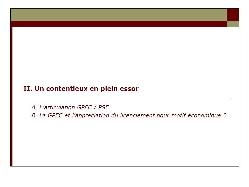 II. Un contentieux en plein essor A. Larticulation GPEC / PSE B. La GPEC et lappréciation du licenciement pour motif économique ?
