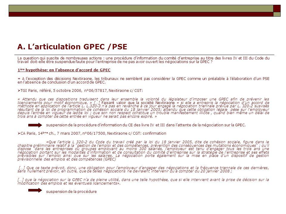 A. Larticulation GPEC /PSE La question qui suscite de nombreuses actions : une procédure dinformation du comité dentreprise au titre des livres IV et