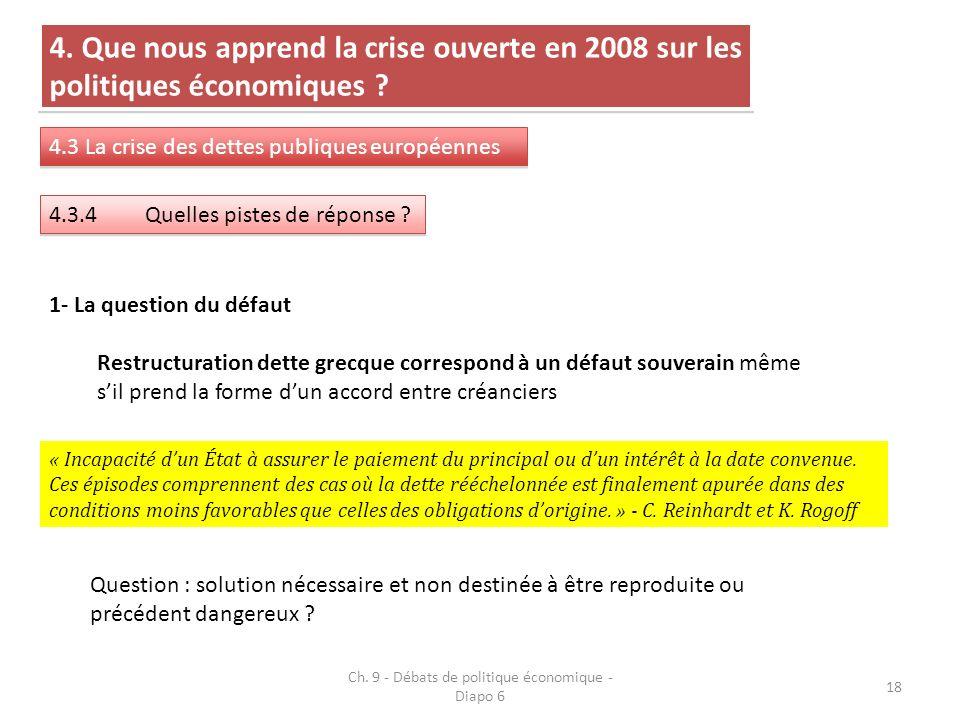 Ch. 9 - Débats de politique économique - Diapo 6 18 4. Que nous apprend la crise ouverte en 2008 sur les politiques économiques ? 4.3 La crise des det