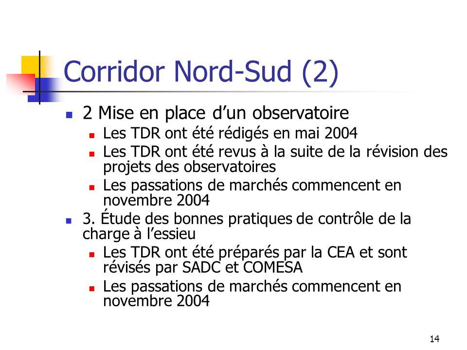14 Corridor Nord-Sud (2) 2 Mise en place dun observatoire Les TDR ont été rédigés en mai 2004 Les TDR ont été revus à la suite de la révision des proj