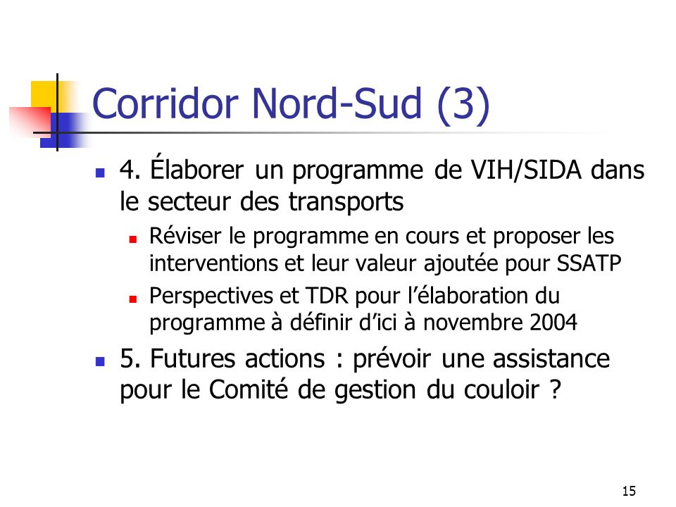 15 Corridor Nord-Sud (3) 4. Élaborer un programme de VIH/SIDA dans le secteur des transports Réviser le programme en cours et proposer les interventio