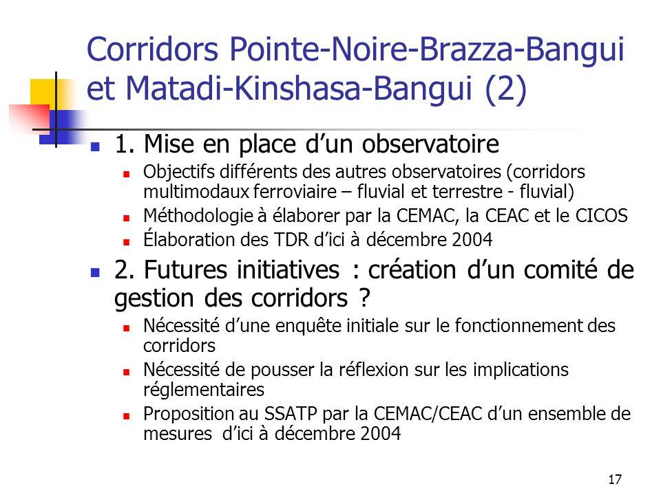 17 Corridors Pointe-Noire-Brazza-Bangui et Matadi-Kinshasa-Bangui (2) 1. Mise en place dun observatoire Objectifs différents des autres observatoires