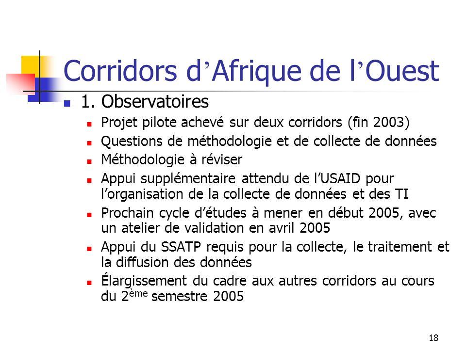 18 Corridors d Afrique de l Ouest 1. Observatoires Projet pilote achevé sur deux corridors (fin 2003) Questions de méthodologie et de collecte de donn