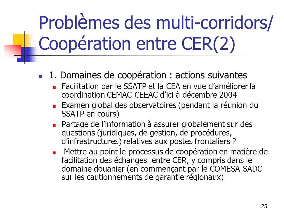 25 Probl è mes des multi-corridors/ Coopération entre CER(2) 1. Domaines de coopération : actions suivantes Facilitation par le SSATP et la CEA en vue
