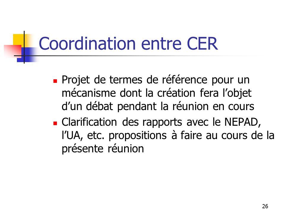 26 Coordination entre CER Projet de termes de référence pour un mécanisme dont la création fera lobjet dun débat pendant la réunion en cours Clarifica