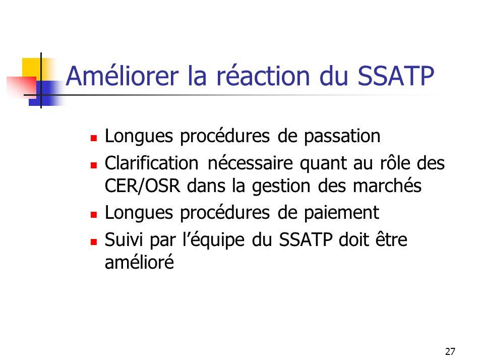 27 Améliorer la réaction du SSATP Longues procédures de passation Clarification nécessaire quant au rôle des CER/OSR dans la gestion des marchés Longu