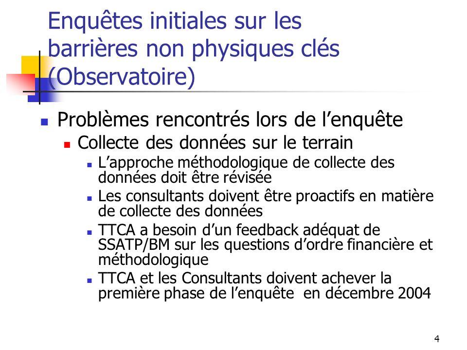 4 Enquêtes initiales sur les barrières non physiques clés (Observatoire) Problèmes rencontrés lors de lenquête Collecte des données sur le terrain Lap