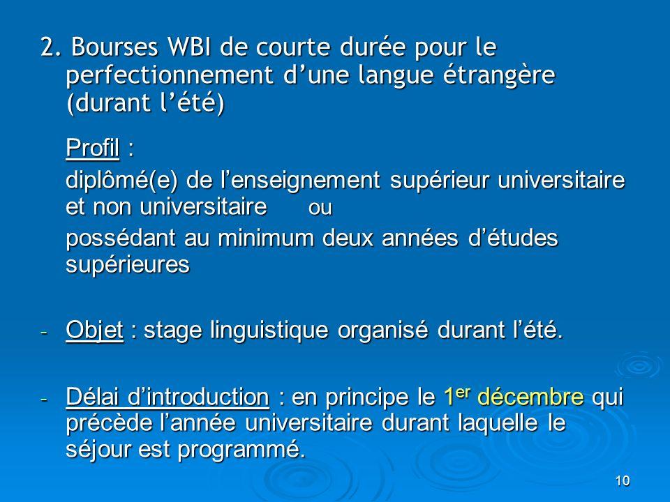 10 2. Bourses WBI de courte durée pour le perfectionnement dune langue étrangère (durant lété) Profil : diplômé(e) de lenseignement supérieur universi