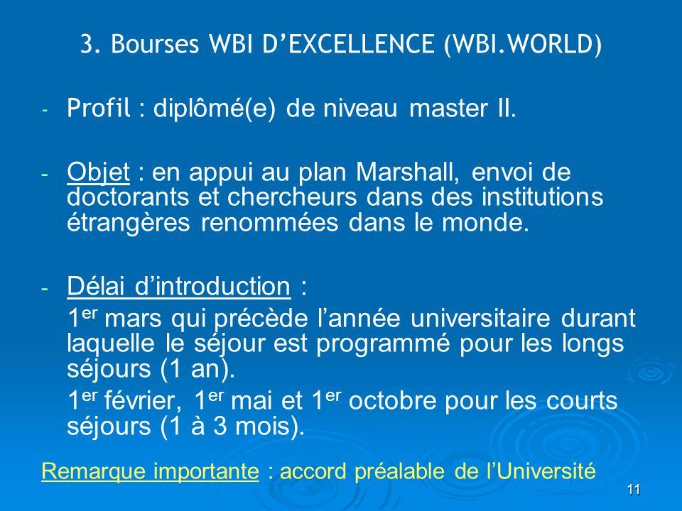 11 3. Bourses WBI DEXCELLENCE (WBI.WORLD) - - Profil : diplômé(e) de niveau master II. - - Objet : en appui au plan Marshall, envoi de doctorants et c