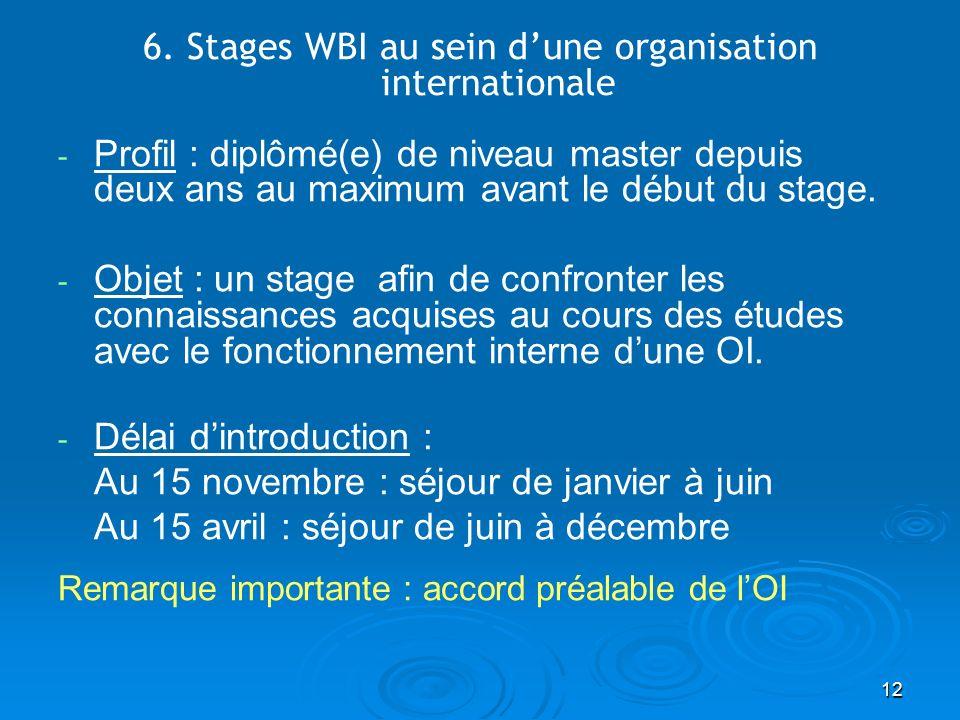 12 6. Stages WBI au sein dune organisation internationale - - Profil : diplômé(e) de niveau master depuis deux ans au maximum avant le début du stage.