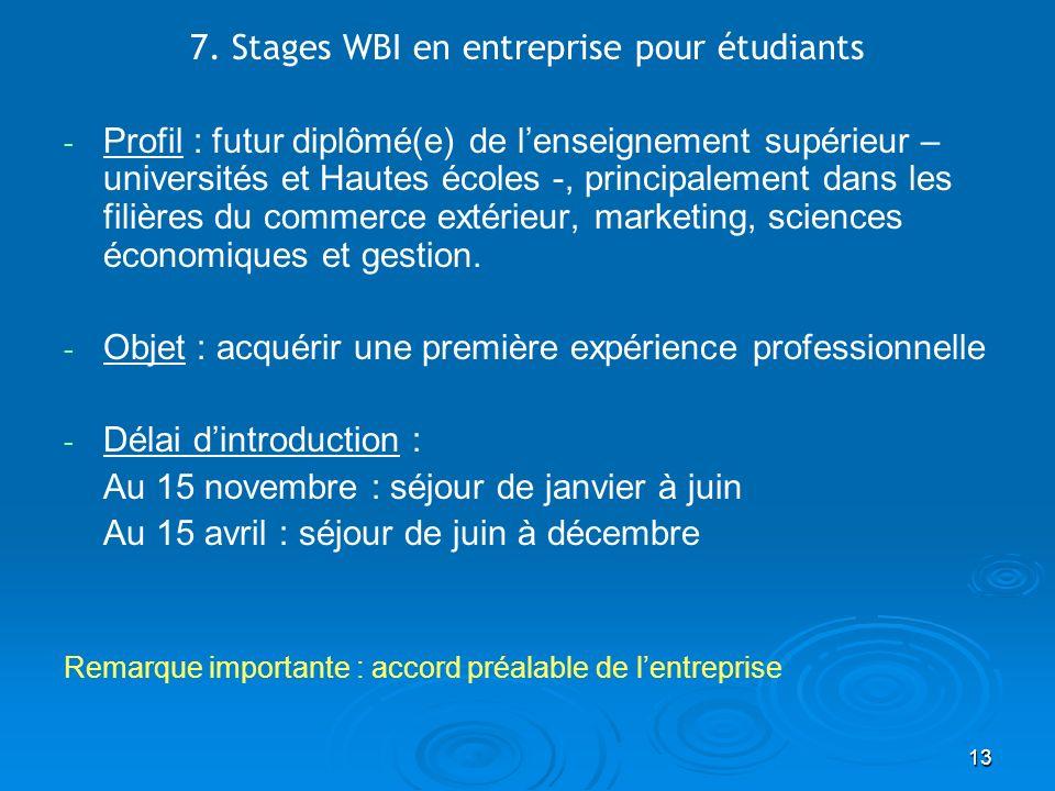 13 7. Stages WBI en entreprise pour étudiants - - Profil : futur diplômé(e) de lenseignement supérieur – universités et Hautes écoles -, principalemen