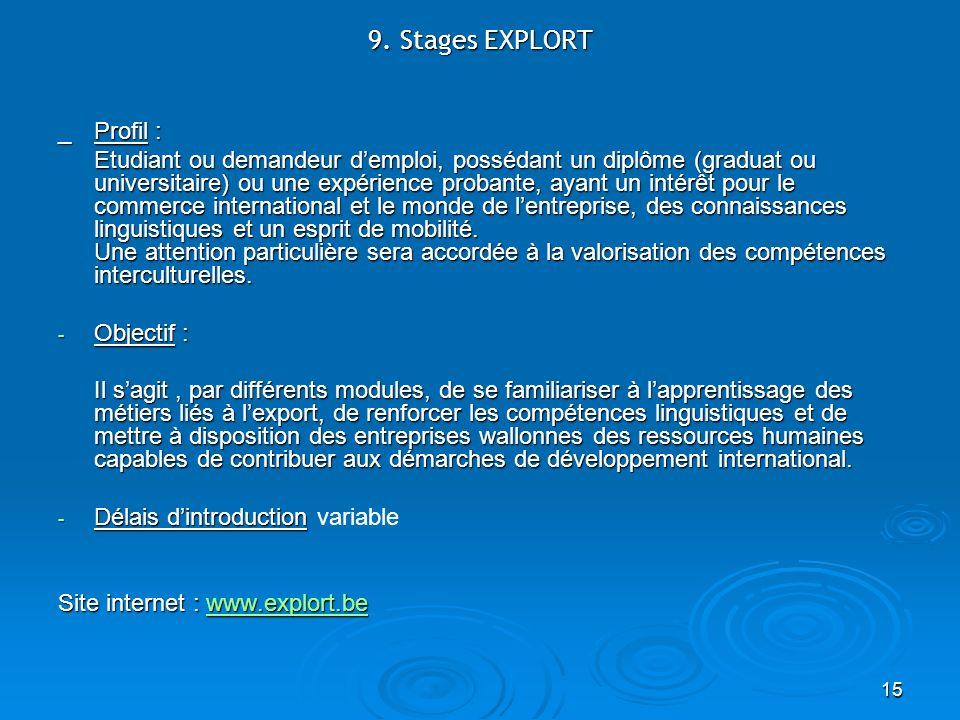 15 9. Stages EXPLORT _ Profil : Etudiant ou demandeur demploi, possédant un diplôme (graduat ou universitaire) ou une expérience probante, ayant un in