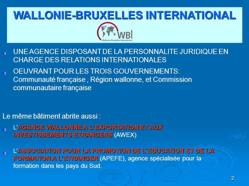 2 WALLONIE-BRUXELLES INTERNATIONAL UNE AGENCE DISPOSANT DE LA PERSONNALITE JURIDIQUE EN CHARGE DES RELATIONS INTERNATIONALES OEUVRANT POUR LES TROIS GOUVERNEMENTS: Communauté française, Région wallonne, et Commission communautaire française Le même bâtiment abrite aussi : AGENCE WALLONNE A LEXPORTATION ET AUX INVESTISSEMENTS ETRANGERS LAGENCE WALLONNE A LEXPORTATION ET AUX INVESTISSEMENTS ETRANGERS (AWEX) ASSOCIATION POUR LA PROMOTION DE LEDUCATION ET DE LA FORMATION A LETRANGER LASSOCIATION POUR LA PROMOTION DE LEDUCATION ET DE LA FORMATION A LETRANGER (APEFE), agence spécialisée pour la formation dans les pays du Sud.