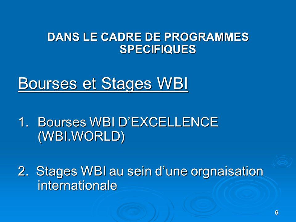 6 DANS LE CADRE DE PROGRAMMES SPECIFIQUES Bourses et Stages WBI 1.Bourses WBI DEXCELLENCE (WBI.WORLD) 2. Stages WBI au sein dune orgnaisation internat