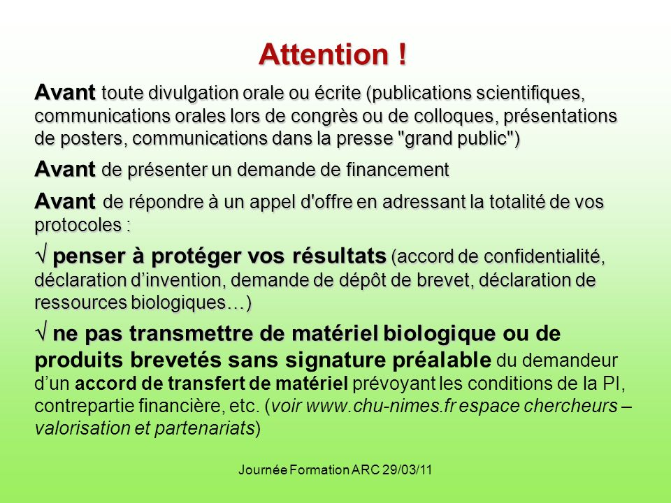 Journée Formation ARC 29/03/11 Attention .
