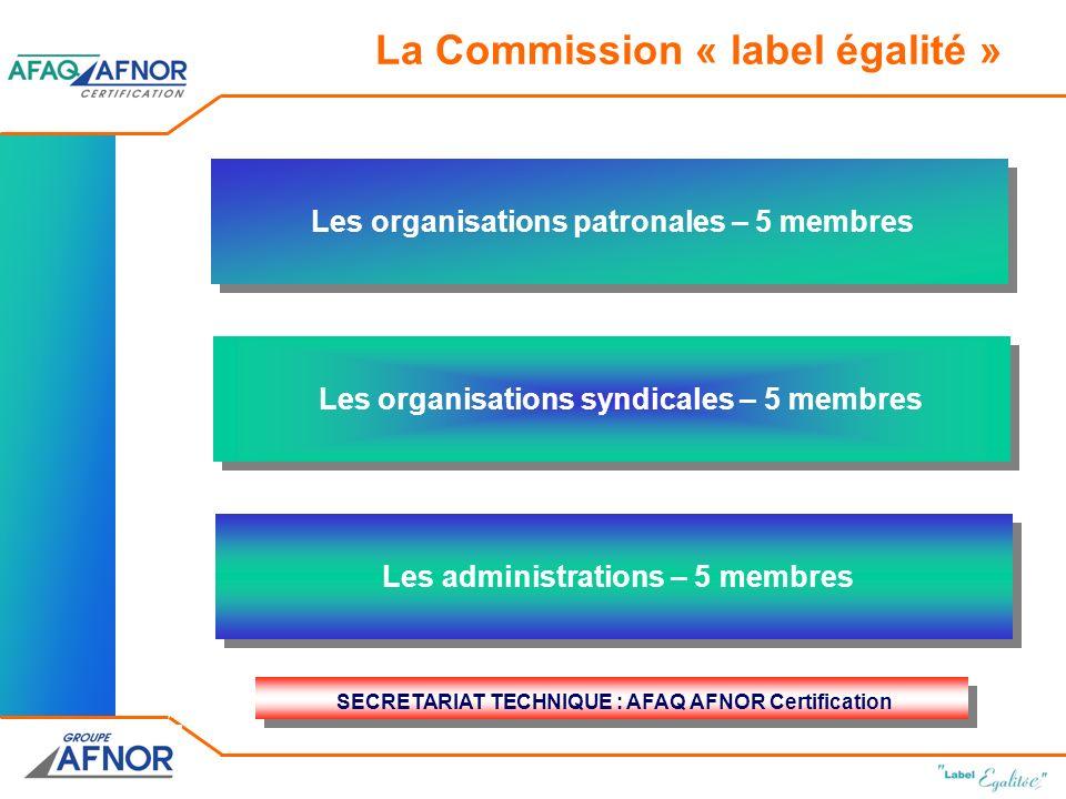 Les organisations syndicales – 5 membres Les administrations – 5 membres Les organisations patronales – 5 membres SECRETARIAT TECHNIQUE : AFAQ AFNOR Certification La Commission « label égalité »