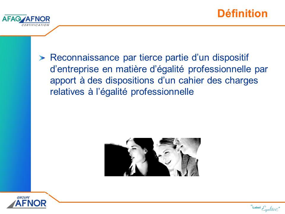 Définition Reconnaissance par tierce partie dun dispositif dentreprise en matière dégalité professionnelle par apport à des dispositions dun cahier des charges relatives à légalité professionnelle