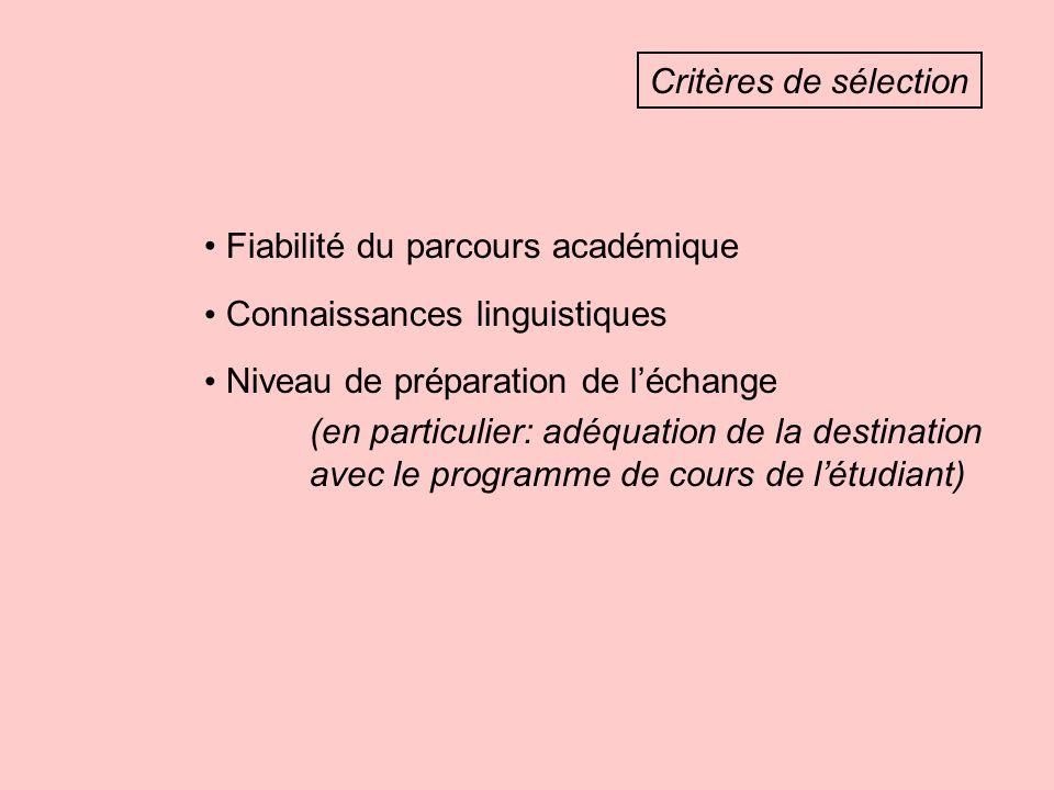 Critères de sélection Fiabilité du parcours académique Connaissances linguistiques Niveau de préparation de léchange (en particulier: adéquation de la destination avec le programme de cours de létudiant)