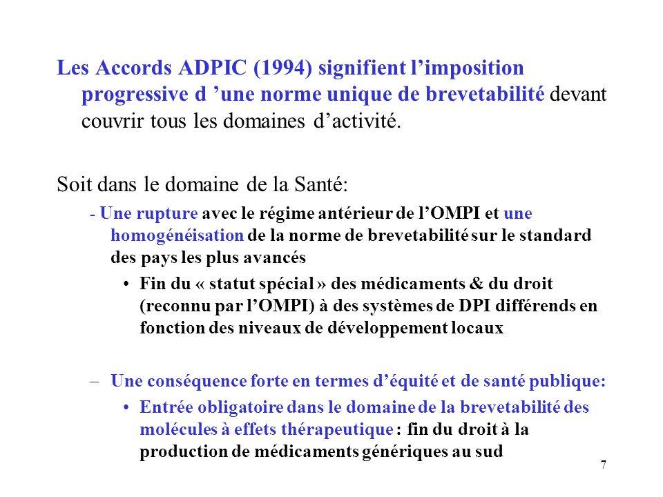 7 Les Accords ADPIC (1994) signifient limposition progressive d une norme unique de brevetabilité devant couvrir tous les domaines dactivité.