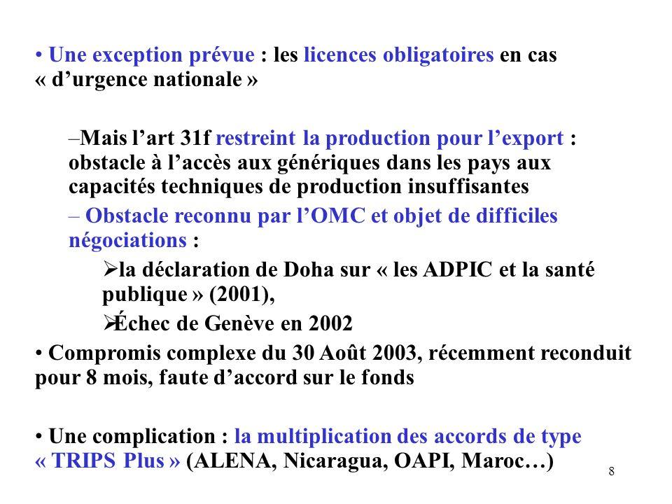 8 Une exception prévue : les licences obligatoires en cas « durgence nationale » –Mais lart 31f restreint la production pour lexport : obstacle à laccès aux génériques dans les pays aux capacités techniques de production insuffisantes – Obstacle reconnu par lOMC et objet de difficiles négociations : la déclaration de Doha sur « les ADPIC et la santé publique » (2001), Échec de Genève en 2002 Compromis complexe du 30 Août 2003, récemment reconduit pour 8 mois, faute daccord sur le fonds Une complication : la multiplication des accords de type « TRIPS Plus » (ALENA, Nicaragua, OAPI, Maroc…)