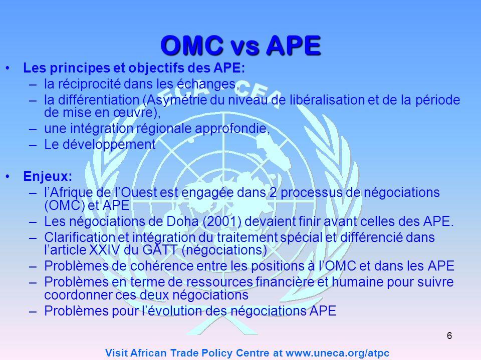 Visit African Trade Policy Centre at www.uneca.org/atpc 6 OMC vs APE Les principes et objectifs des APE: –la réciprocité dans les échanges, –la différentiation (Asymétrie du niveau de libéralisation et de la période de mise en œuvre), –une intégration régionale approfondie, –Le développement Enjeux: –lAfrique de lOuest est engagée dans 2 processus de négociations (OMC) et APE –Les négociations de Doha (2001) devaient finir avant celles des APE.