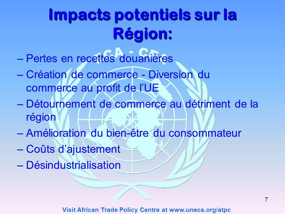 Visit African Trade Policy Centre at www.uneca.org/atpc 7 Impacts potentiels sur la Région: –Pertes en recettes douanières –Création de commerce - Diversion du commerce au profit de lUE –Détournement de commerce au détriment de la région –Amélioration du bien-être du consommateur –Coûts dajustement –Désindustrialisation